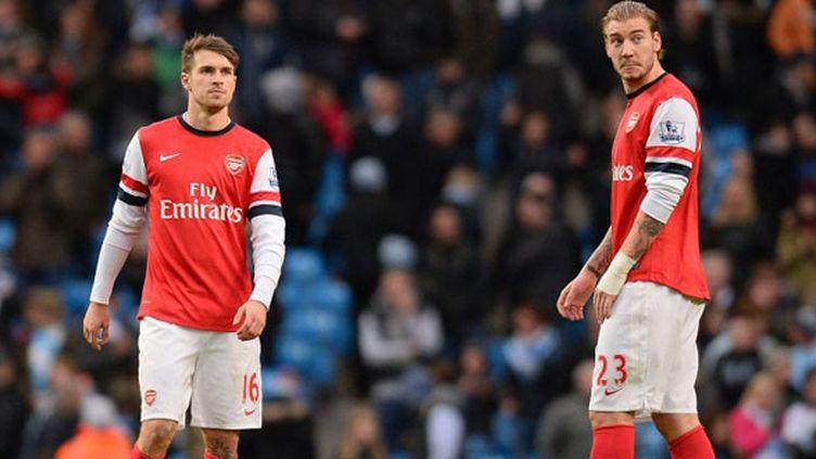 Les joueurs d'Arsenal, Aaron Ramsey et Nicklas Bendtner