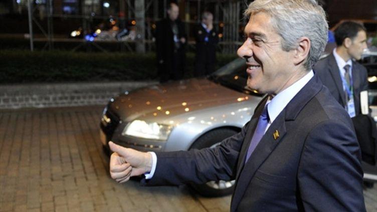 Le Premier ministre portugais, José Socrates, au sommet européen, le 25 mars 2011 à Bruxelles. (AFP/JEAN-CHRISTOPHE VERHAEGEN)