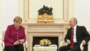 Le président russe Vladimir Poutine et la chancelière allemande Angela Merkel au Kremlin, le 11 janvier, pour discuter des crises en Syrie, Libye, Ukraine, ainsi que de l'escalade récente des tensions Iran-États-Unis. (SERGEY GUNEEV / SPUTNIK)