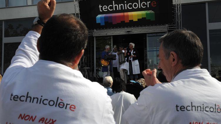Manifestation des salariés de Technicolor, le 20 septembre 2012 dans leur usine d'Angers (Maine-et-Loire). (LAURENT COMBET / LE COURRIER DE L'OUEST / MAXPPP)