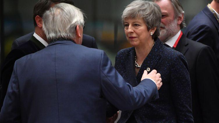 La Première ministre Theresa May lors d'un sommet à Bruxelles consacré en grande partie au Brexit, le 21 mars 2019. (EMMANUEL DUNAND / AFP)