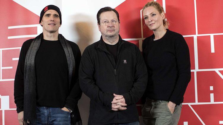 """A Bengtsfors, en Suède, Lars Von Trier avec Matt Dillon et Uma Thurman, qui jouent dans son dernier film, """"The House That Jack Built"""", présenté Hors compétition à Cannes  (Bjorn Larsson / TT / AP / SIPA)"""