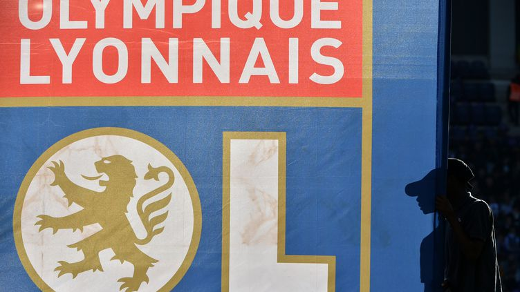 Le logo de l'Olympique lyonnais (OL), le 29 octobre 2016. (REMY GABALDA / AFP)