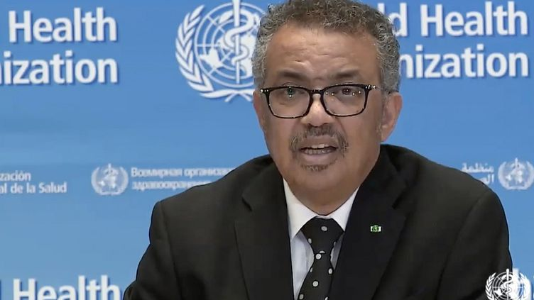 Le directeur général de l'OMS,Tedros Adhanom Ghebreyesus, lors d'une conférence de presse virtuelle sur le coronavirus depuis Genève, en Suisse, le 23 mars 2020. (AFP)