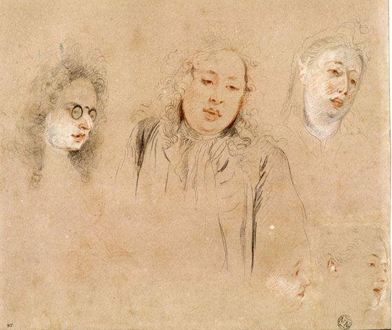 """Antoine Watteau, """"Deux études de musiciens et d'une chanteuse"""" (Antonio, Paccini, d'Argenon). Trois crayons, mine de plomb et pastel bleu. Paris, musée du Louvre. (RMN-GRAND PALAIS (MUSÉE DU LOUVRE) / THIERRY LE MAGE)"""