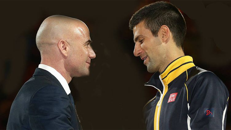 André Agassi et Novak Djokovic à l'Open d'Australie