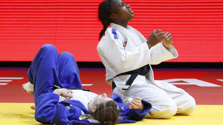 Clarisse Agbegnenou à Tel Aviv (Israel), le 27 avril 2018, lors des championnats d'Europe de judo. (JACK GUEZ / AFP)