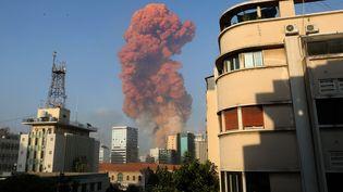 L'explosion a eu leu dans le port de Beyrouth (Liban), le 4 août 2020. (ANWAR AMRO / AFP)