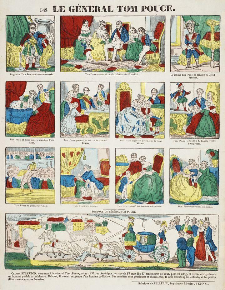 """""""Le Général Tom Pouce"""", 1845,François Georgin (graveur), Pellerin, Épinal (éditeur),Gravure sur bois coloriée au pochoir Coll. musée de l'Image, Épinal (Musée de l'Image - Ville d'Épinal - cliché E. Erfani 7- Gangel,)"""