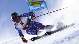 Le Français Mathieu Faivrea réalisé une belle première manche pourle géant d'ouverture à Sölden, en Autriche, dimanche 24 octobre 2021. (MARCO TROVATI/AP/ SIPA)