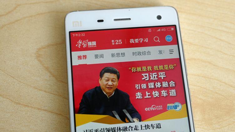 L'application mobile de propagande du régime chinois. (GREG BAKER / AFP)