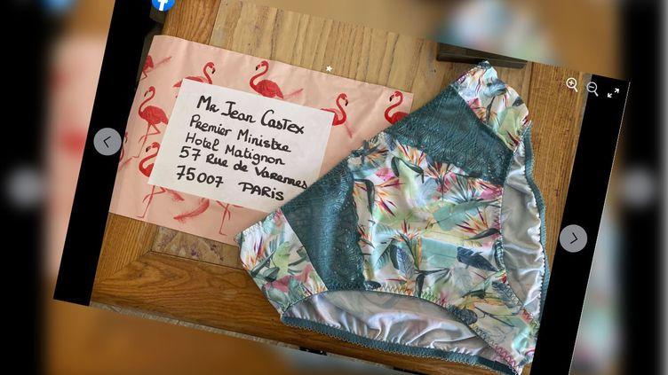 Surleurpage Facebook, les gérantes de boutiques de lingerie du collection Action culottée partage la photo de la petite culotte envoyée à Jean Castex. (CAPTURE D'ÉCRAN / FACEBOOK)