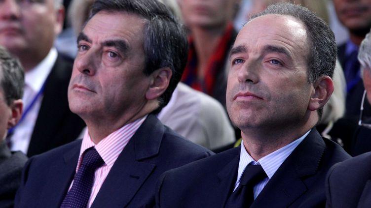 François Fillon et Jean-François Copé, lors des journées parlementaires de l'UMP, le 27 septembre 2012 à Marcq-en-Barœul (Nord). (ALAIN ROBERT / SIPA)