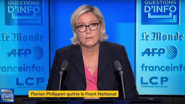 Marine Le Pen, le 21 septembre 2017. (FRANCEINFO)