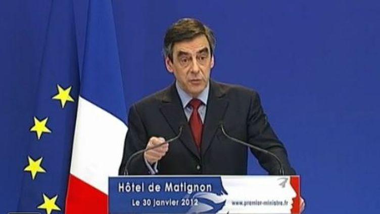 François Fillon devant la presse (FTVi)