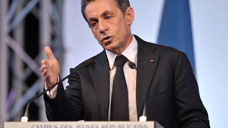 Le président des Républicains, Nicolas Sarkozy, lors d'un campus des jeunes de son parti au Touquet, le 12 spetembre 2015. (FRANCOIS LO PRESTI / AFP)