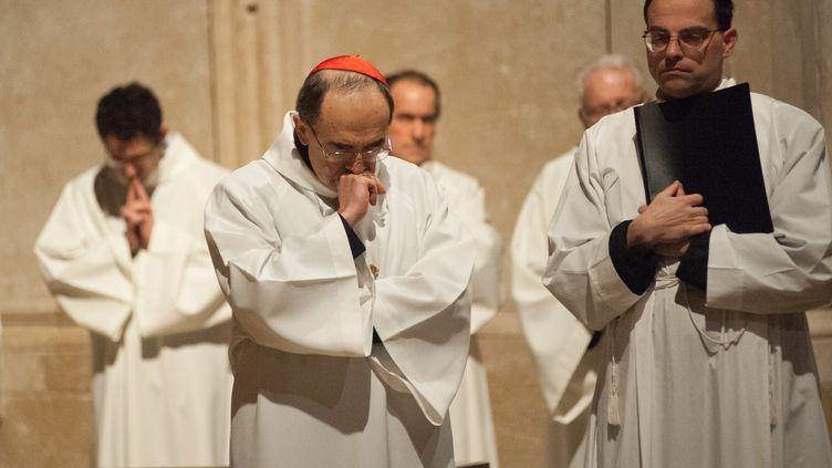 La cardinalPhilippe Barbarin, le 25 mars 2016, dans la cathédrale Saint-Jean de Lyon. (CITIZENSIDE/FRANCK CHAPOLARD / CITIZENSIDE / AFP)