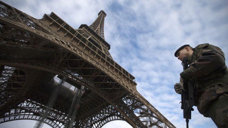 Un soldat patrouille au pied de la Tour Eiffel, le 14 janvier 2013. (JOEL SAGET / AFP)