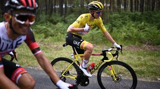 Tadej Pogacar lors de la 19e étape du Tour de France, entre Mourenx et Libourne Gironde), le 16 juillet 2021. (ANNE-CHRISTINE POUJOULAT / AFP)