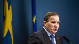 Le Premier ministre suédois, Stefan Löfven, lors d'une conférence de presse sur l'épidémie de Covid-19, le 3 novembre 2020. (JONATHAN NACKSTRAND / AFP)