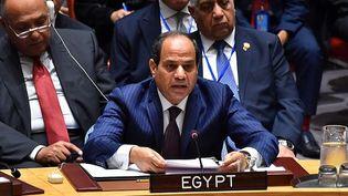 Le président égyptien Abdel Fattah al-Sissi, lors d'une réunion à haut niveau sur la Syrie au Conseil de sécurité de l'ONU, à New York, le 21 septembre 2016. (Pool/Egypt Presidency/ANADOLU AGENCY)