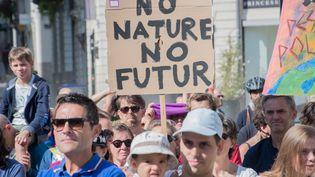 Des manifestants à Nantes (Loire-Atlantique), le 2 septembre 2018, après la démission de Nicolas Hulot au poste de ministre de la Transition écologique. (ESTELLE RUIZ / AFP)