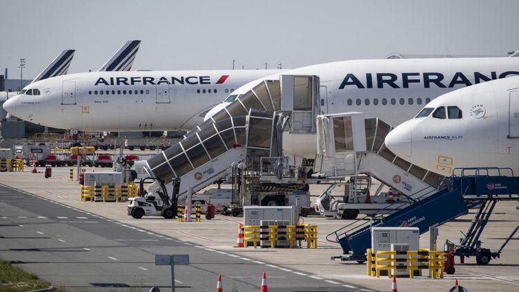 Des avions Air France sur le tarmac de l'aéroport Roissy-Charles de Gaulle, le 14 avril 2021. (THOMAS SAMSON / AFP)