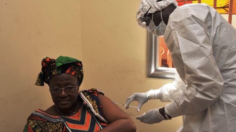 L'OMS annonce la découverte d'un vaccin 100% efficace contre le virus mortel Ebola, le 23 décembre 2016. (CELLOU BINANI / AFP)