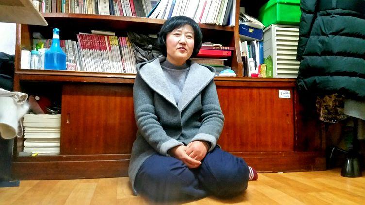 Kim Ryen-hi, Nord-Coréenne venue malgré elle au Sud, dit espérer qu'à l'occasion des Jeux de Pyeongchang, les familles séparées puissent se retrouver, et qu'enfin il y ait la réunification. (BENJAMIN ILLY / RADIO FRANCE)