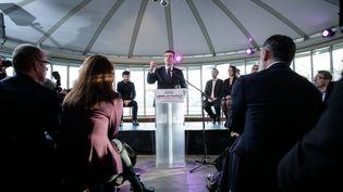 Arnaud Montebourg se lance dans la primaire de la gauche, le 1er décembre 2016, à Paris. (THOMAS PADILLA / MAXPPP)