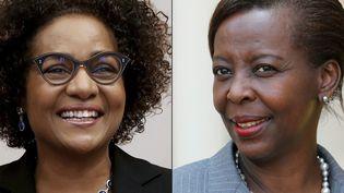 La canadienne Michaëlle Jean, actuelle présidente de l'OIF et la rwandaise Louise Mushikiwabo, son adversaire pour la succession  (FRANCOIS GUILLOT, ludovic MARIN / AFP)
