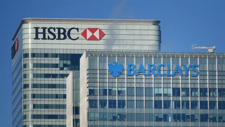 Les sièges sociaux des banques Barclays et HBFC à Londres (Grande-Bretagne). (ANDY RAIN / EPA / MAXPPP)