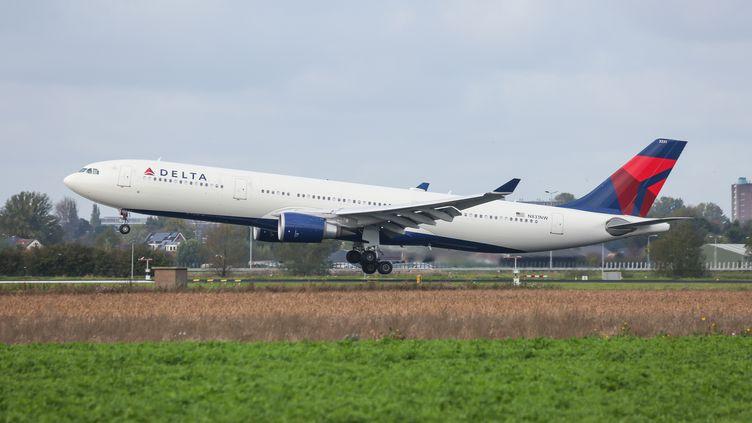 Un avion Airbus A330-300 de la compagnie américaine Delta Air Lines, a l'aéroport international de Schiphol, à Amsterdam (Pays-Bas), le 27 octobre 2019. (NICOLAS ECONOMOU / NURPHOTO / AFP)