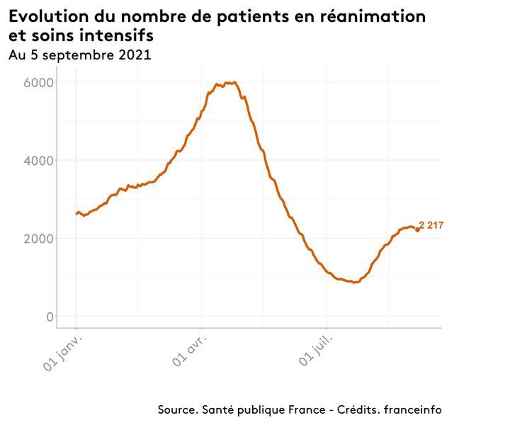 Le nombre de patients atteints du Covid-19 en réanimation en France, au 5 septembre 2021. (FRANCEINFO)