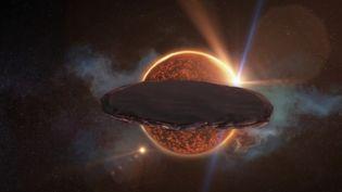 Représentation d'Oumuamua, créée par le service infographie de France Télévisions, selon les indications de l'astronome Avi Loeb. (CAPTURE ECRAN FRANCE 2)