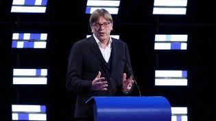 Guy Verhofstadtlors d'un discours le soir des résultats des élections européennes, le 26 mai 2019 à Bruxelles en Belgique. (DURSUN AYDEMIR / ANADOLU AGENCY)