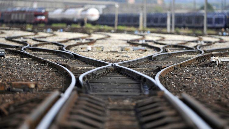 LaSNCFa écrit un texte en rimes pour alerter ces jeunes hommes du risque de rester sur une voie ferrée. (GERARD JULIEN / AFP)