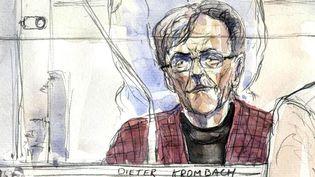 Croquis du médecin allemand Dieter Krombach, accusé de la mort de sa belle-fille Kalinka Bamberski,à la cour d'assises de Paris le 29 mars 2011. (BENOIT PEYRUCQ/AFP)