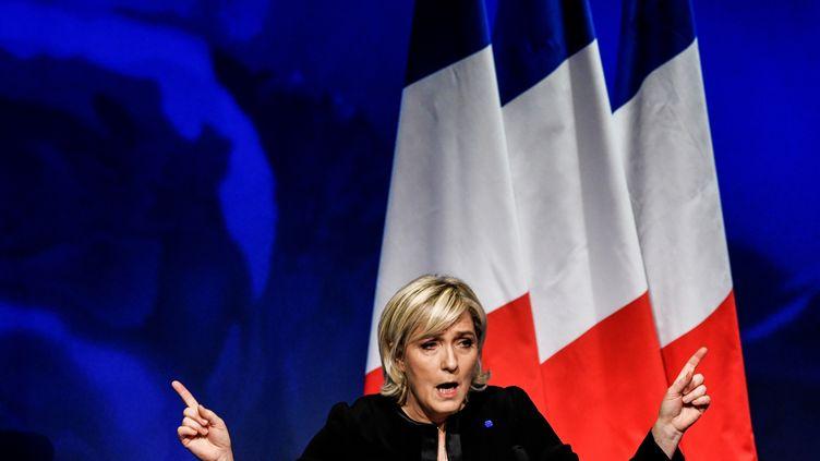La candidate du Front national pour la présidentielle, Marine Le Pen, prononce un discours lors d'un meeting à Lyon (Rhône), le 5 février 2017. (JEFF PACHOUD / AFP)