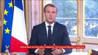 Emmanuel Macron lors de son allocution à l'Elysée après le référendum sur l'autodétermination de la Nouvelle-Calédonie, dimanche 4 novembre 2018. (FRANCEINFO)