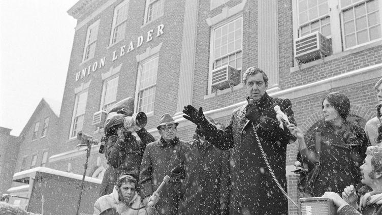 Edmund Muskie s'exprimant devant le l'Union Leader, le 4 mars 1972. (BETTMANN / BETTMANN)