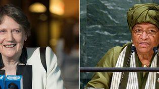 L'ancienne Première ministre néo-zélandaise Helen Clark et de l'ex-présidente du Liberia Ellen Johnson Sirleaf, prennent la tête d'un groupe indépendant chargé d'examiner le travail de l'OMS pendant la pandémie de coronavirus, le 9 juillet 2020. (DON EMMERT / AFP)