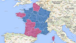 Projection des résultats du premier tour des élections départementales dans les futures grandes régions métropolitaines. ( GOOGLE MAPS / FRANCETV INFO )