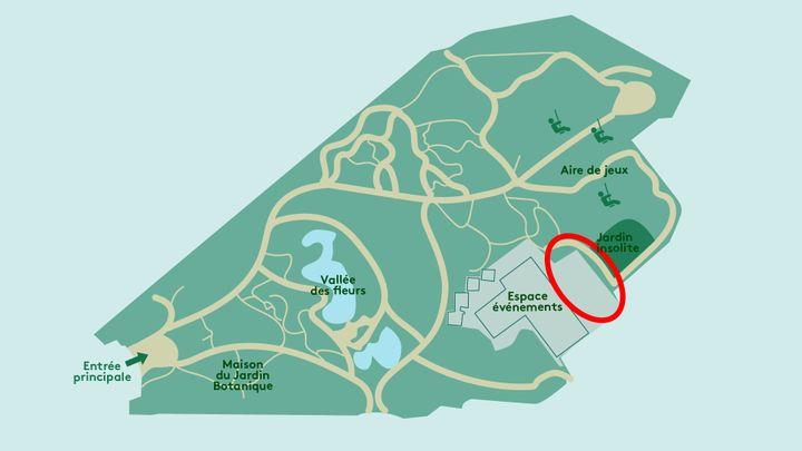 Plan du parc floral montrant, entouré en rouge, le sitepollué aux métaux lourds. (AWA SANE / FRANCEINFO)