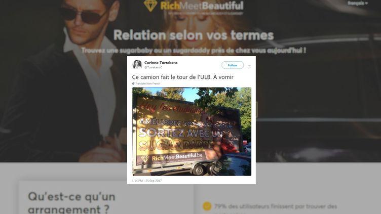 Capture d'écran d'un tweet montrant la publicité du site richmeetbeautiful.be, le 25 septembre 2017. (FRANCEINFO)