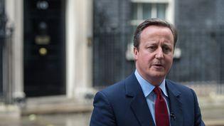 Le Premier ministre, David Cameron, annonce qu'il sera remplacé par Theresa May, lors d'une conférence de presse donnée le 11 juillet 2016 à Londres (Royaume-Uni). (CHRIS J RATCLIFFE / AFP)