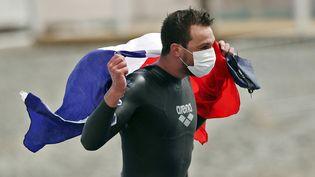 Axel Reymond a remporté le titre continentalsur 25 km aux championnats d'Europe de natation de Budapest le 16 mai 2021. (FERENC ISZA / AFP)