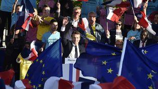 Emmanuel Macron lors d'un meeting de campagne à Albi (Tarn), le 4 mai 2017. (PASCAL PAVANI / AFP)