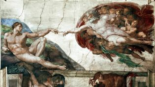 """La creation d'Adam"" (The Creation of Adam). Détail d'une voûte de la chapelle Sixtine (Sistina), fresque de Michelangelo Buonarroti, dit Michel Ange (Michelange ou Michel-Ange, 1475-1564).  (Luisa Ricciarini/Leemage)"