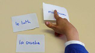 """Un enfant autiste s'exerce à lire et parler grâce à une orthophoniste à l'institut médico-éducatif (IME) """"Notre école"""" à Paris. (Photo d'illustration) (JOEL ROBINE / AFP)"""